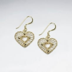 Stunning Silver Drop Wire Work Heart Earrings With Petite Open Heart Nestled Within