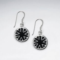 Black Stone Disk Silver Earring With Triangle Edge