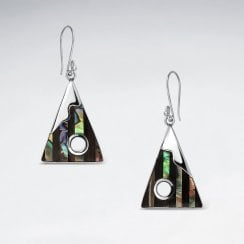 Silver Triangle Wood and Shell Dangle Earrings