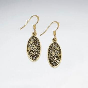 Puffed Brass Textured Floral Pattern Oval Silhouette Dangle Earrings