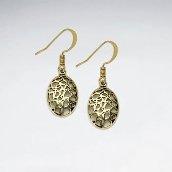Puffed Oval Filigree Detailed Dangle Hook Earrings
