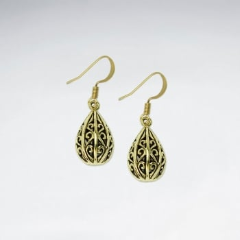 Puffed Teardrop Brass Filigree Statement Earrings