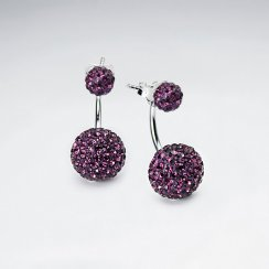 Purple CZ Tribal Mise En Double Sided Stud Earring