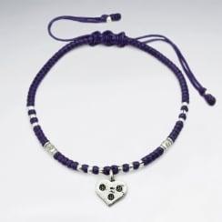 Purple Heart Waxed Cotton Bracelet