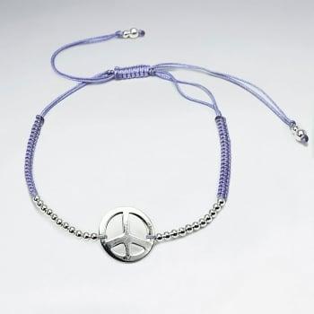 Purple Nylon Peace Sign Beaded Charm Bracelet