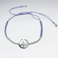 Purple Nylon Peace Sign Beaded Charm Bracelet