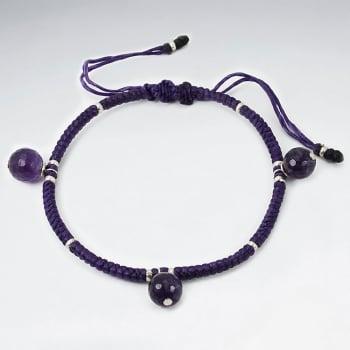 Purple Twist Waxed Cotton Amethyst Ball Bead Bracelet