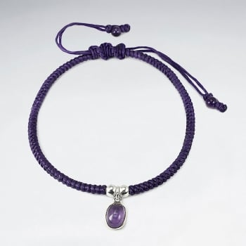 Purple Waxed Cotton Amethyst Stone Bracelet