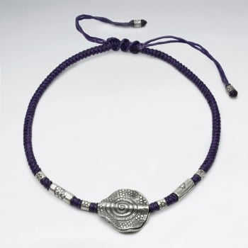 Purple Waxed Cotton Charm Studded Anklet
