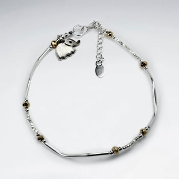 Pyrite & Silver Elephant Charm Bracelet