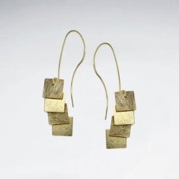 Quadruple Square Charm Dangle Tier Silver Earrings