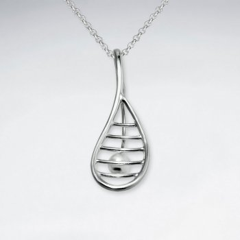 Racquet Shape Inspired Drop Charm Cutout Silver Pendant