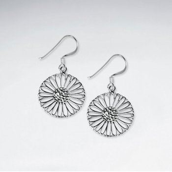 Radiant Polished Silver Filigree Circle Blossom Dangle Hook Earrings