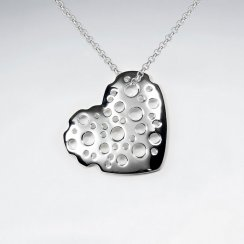 Raindrop Splattered Silver Heart Pendant