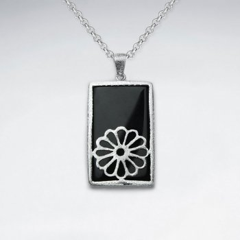 Rectangle Black Stone Pendant With Silver Flower