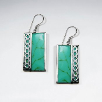 Rectangle Green Turquoise Silver Earring