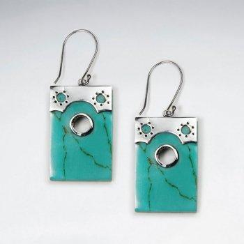 Rectangle Howlite Silver Earring