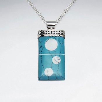 Rectangle Howlite Silver Pendant