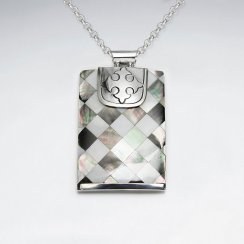 Rectangle Lattice Shell Silver Pendant