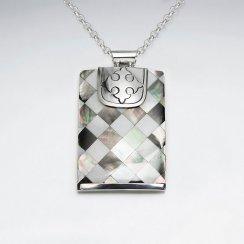 Rectangle Lattice Shell Silver Pendant