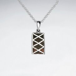 Rectangle Mix Wood Silver Pendant With Cross