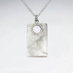 Rectangle Mother Of Pearl Silver Pendant