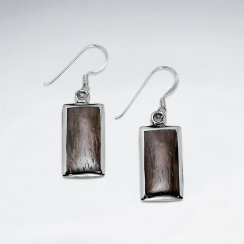 Rectangle Natural Wood Dangling Silver Earring