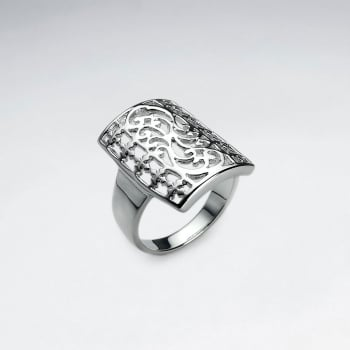 Rectangle Openwork Filigree Brass Swirl Ring