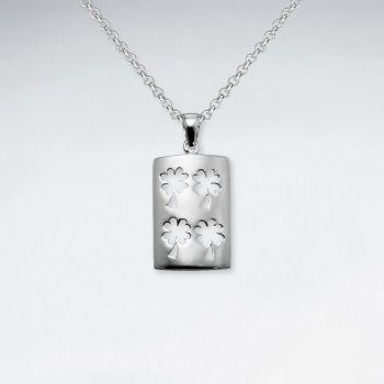 Rectangle Silver Pendant With Clover Leaf Cutout