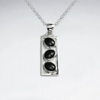 Rectangle Silver Pendant With Triple Oval Black Stone