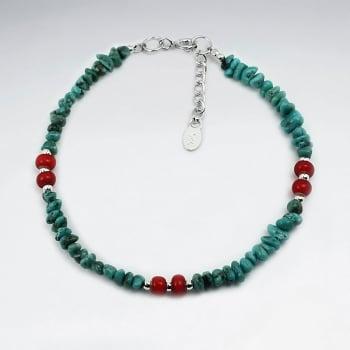 Red Bead & Turquoise Pattern Bead Bracelet