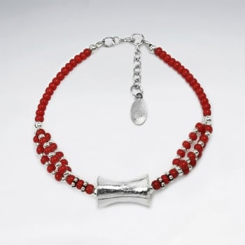 Red Glass Bead & Sterling Silver Adjustable Clasp Bracelet