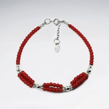 Red Glass Beads Loops Clasp Bracelet