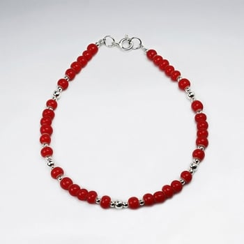 Red Glass Beads Sterling Silver Bracelet