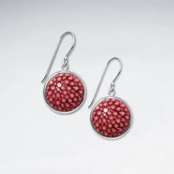 Red Round Stingray Dangling Silver Earring