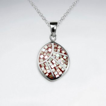 Red Shell Marquise Silver Pendant