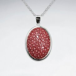 Red Stingray Oval SilverPendant