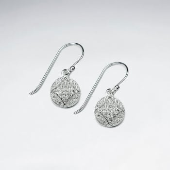 Refined Sophistication Circle Pave Sterling Silver CZ Dangle Earrings