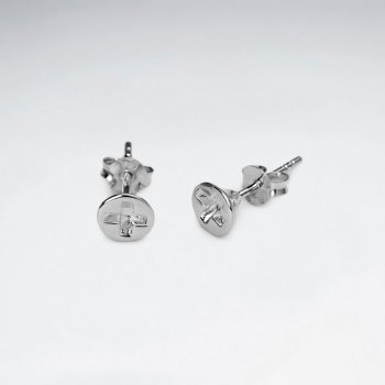 Rhodium Plating Cross Style Button Stud Earrings in Sterling Silver