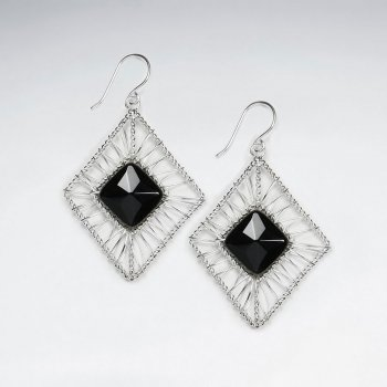 Rhombus Wirework Dangling Silver Earring With Black Stone