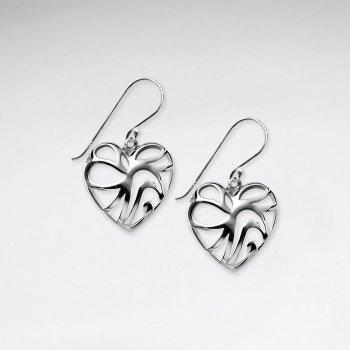 Romantic Filigree Single Heart Dangle Drop Earrings