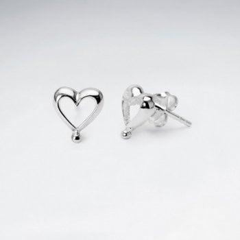 Romantic Hearts Sterling Silver Stud Post Earrings