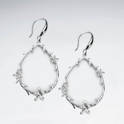 Romantic Open Teardrop Decorated Frame With Flower Dangle Hook Earrings
