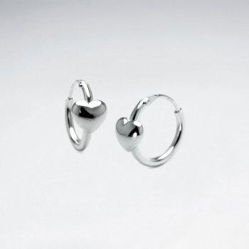 Romantic Sterling Silver Heart Silhouette Huggie Hoop Earrings