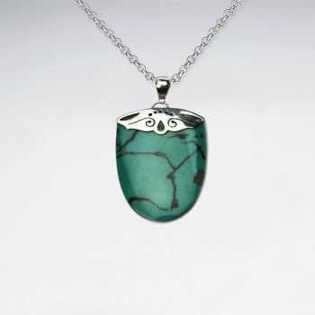 Romeo Vintage Sterling Silver Turquoise Half Oval Pendant