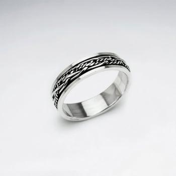 Rope Knot Dimensions Oxidized Ring