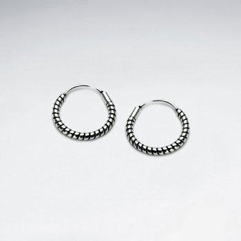 Rope Twist Sterling Silver U- Hoop Earrings