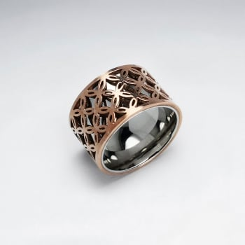Rosegold Stainless Steel Floral Cutout Pattern Ring