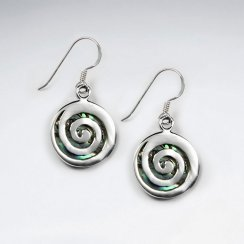 Round Abalone Earring With Spiral Silver Mask