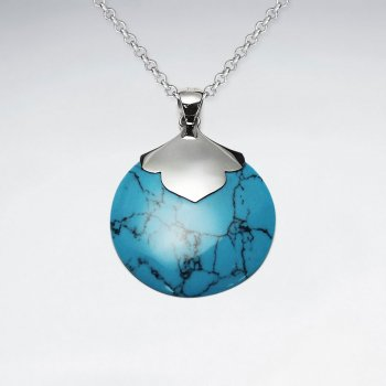 Round Blue Turquoise Silver Pendant